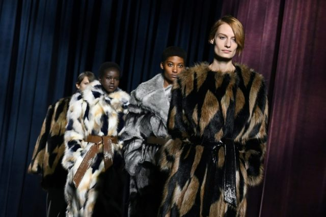 Models in fake fur take to the catwalk for a Givenchy fashion show in Paris this month