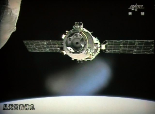Gentler times: The Tiangong-1 as it was in June 2012. Nearly six years later it smashed back through the atmosphere over the Pacific