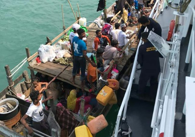 The boat carrying Rohingya refugees off the island of Langkawi
