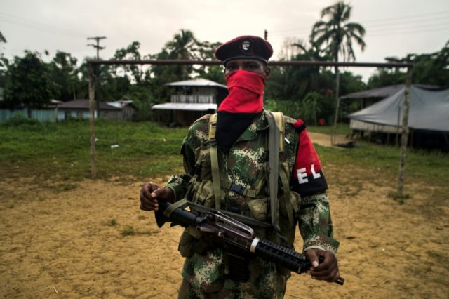 A National Liberation Army (ELN) guerrilla at a rebel camp in far western Colombia in November 2017