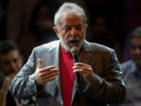 Former Brazilian president Luiz Inacio Lula da Silva, seen here addressing a rally of leftist parties on April 02, is seeking a third term in office and leads easily in opinion polls