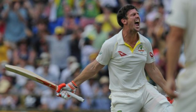 Australia's Mitch Marsh celebrates reaching his century in the third Ashes Test in Perth on December 16, 2017