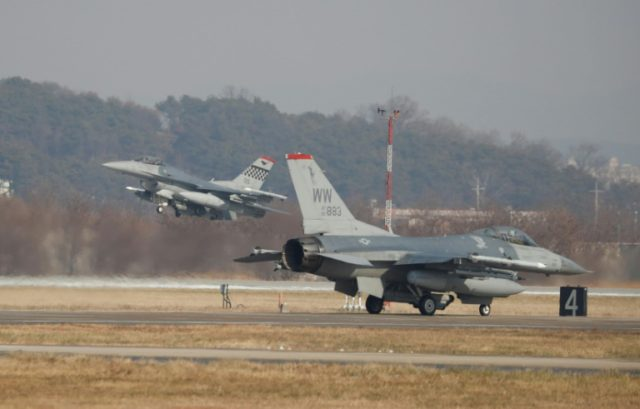 US Air Force F-16 fighter jets take part in a joint aerial drills between the US and South Korea at the Osan Air Base in Pyeongtaek last December