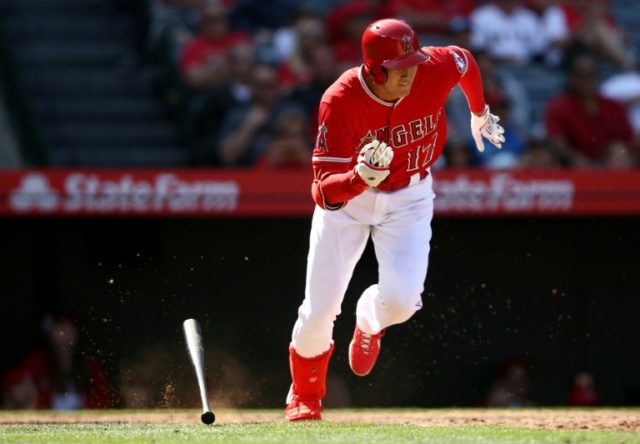 Shohei Ohtani of the Los Angeles Angels of Anaheim grounds out during the eighth inning of a game against the Cleveland Indians at Angel Stadium on April 4, 2018