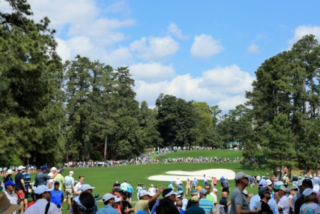 A general view of the eighth hole is seen during a practice round prior to the start of the 2018 Masters Tournament at Augusta National Golf Club on April 3, 2018 in Augusta, Georgia