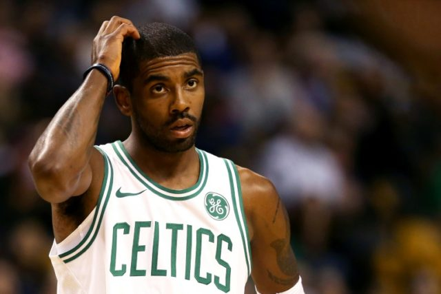Kyrie Irving of the Boston Celtics looks on during the first half against the Charlotte Hornets at TD Garden on October 2, 2017 in Boston, Massachusetts