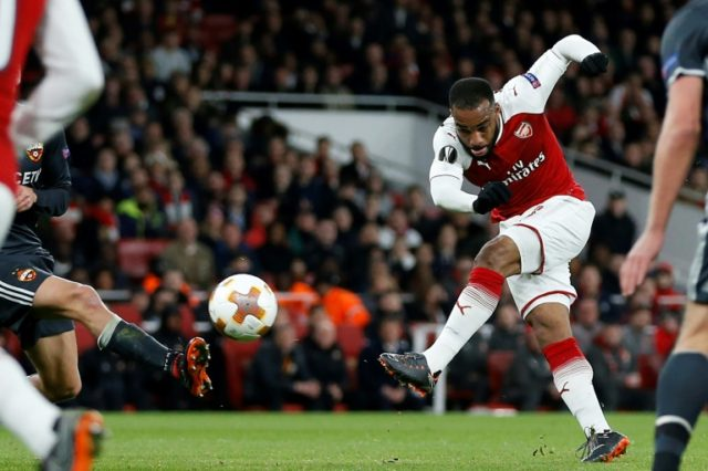 Alexandre Lacazette scored his first double since September to hand Arsenal a commanding lead.