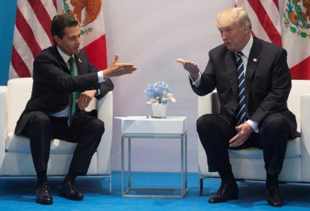 Mexican President Enrique Pena Nieto (left) has twice canceled plans to visit Washington after tense phone calls with US President Donald Trump (right) in which the American refused to back down from his insistence that Mexico pay for his planned border wall