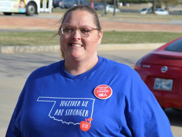 Jennifer Thornton is among thousands of schoolteachers taking part in a state-wide strike to demand a pay hike and greater education spending in Oklahoma