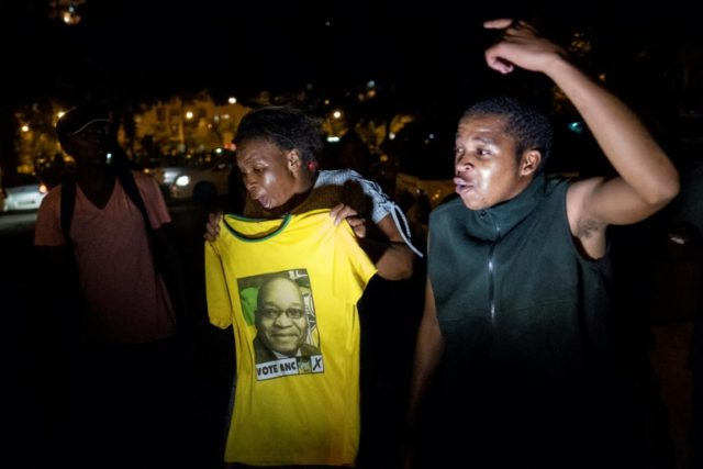 Supporters of former South African president Jacob Zuma rallying in Durban ahead of his court appearance