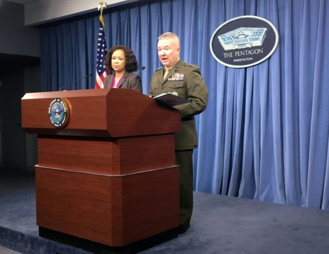 Pentagon spokeswoman Dana White and Marine Lieutenant General Kenneth McKenzie Jr brief the media at the Pentagon
