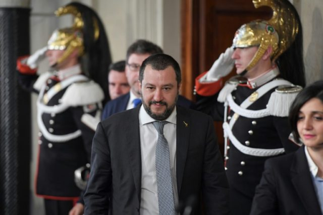 Matteo Salvini, leader of the far-right League party leaves after a meeting with Italian President Sergio Mattarella on the second day of consultations with political parties to try to form a new Italian government after inconclusive elections last month