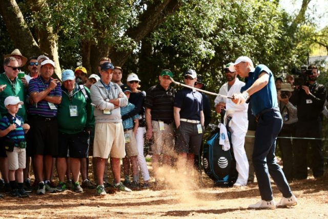 Jordan Spieth of the United States hits his second shot from the pine straw on the first hole during the second round of the 2018 Masters Tournament at Augusta National Golf Club on April 6, 2018 in Augusta, Georgia