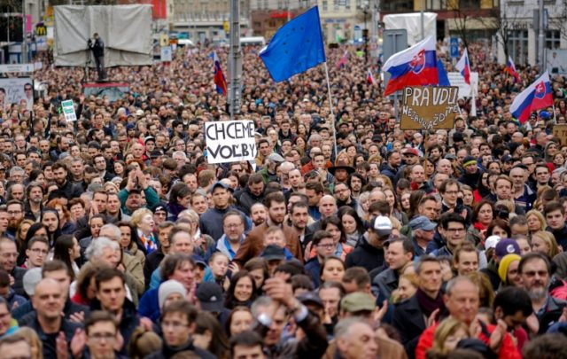 Some 40,000 protesters demanded the resignation of the Slovak police chief Tibor Gaspar during a protest 'For Decent Slovakia' at the Slovak National Uprising square in Bratislava, Slovakia on April 5, 2018