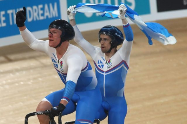 Scotland's Neil Fachie (R) and pilot Matt Rotherham have won two B&VI cycling gold medals at the Gold Coast Commonwealth Games.
