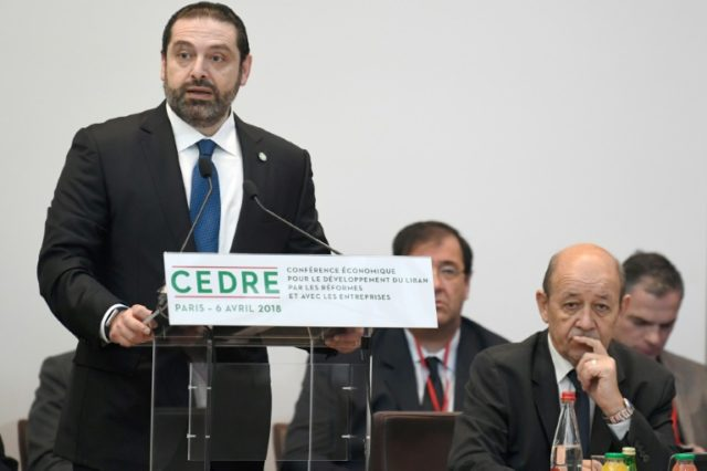 Lebanese Prime Minister Saad Hariri speaking in Paris