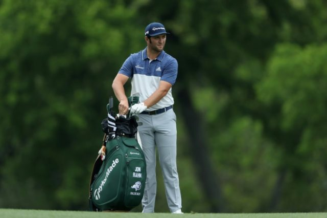 Jon Rahm fired a bogey-free seven-under par 65 at Augusta National to stand fourth after 54 holes on 8-under par 208, six strokes adrift of leader Patrick Reedduring the third round of the 2018 Masters Tournament at Augusta National Golf Club on April 7, 2018 in Augusta, Georgia