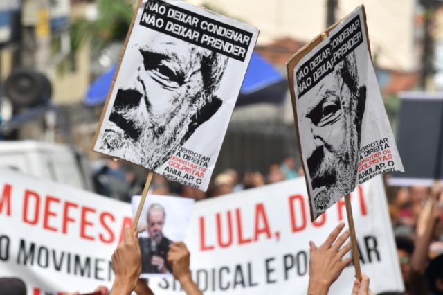 Supporters of former Brazilian president Luiz Inacio Lula da Silva, who was expected soon to turn himself in to authorities to be jailed for corruption, surrounded the building near Sao Paulo where he had holed up for two days
