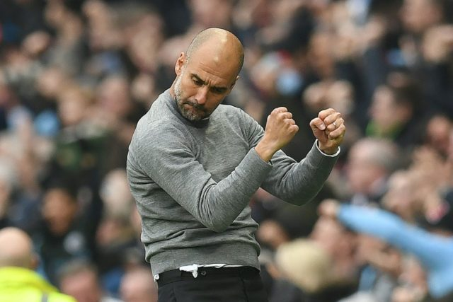 Guardiola celebrates City's second goal against Man Utd, but they ultimately crumbled to a 3-2 defeat.