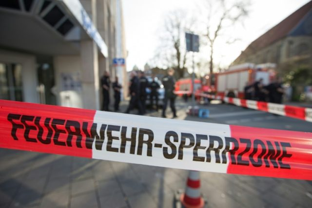 A police cordon is seen at the scene when several people were killed and injured when a car ploughed into pedestrians in Muenster, western Germany on April 7, 2018