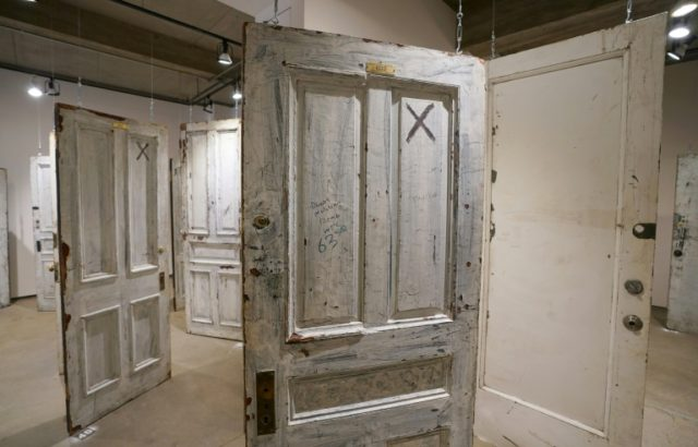 A door to a room where actor Humphrey Bogart once resided -- now up for sale in an unusual auction -- is seen at the Ricco/Maresca Gallery in New York