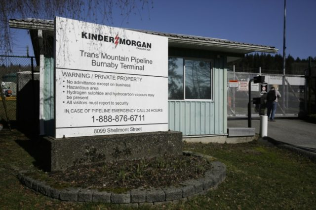 Kinder Morgan's Trans Mountain Pipeline Burnaby Terminal is pictured in Burnaby, British Columbia; A final decision on an expansion of the pipeline, which is supported by Prime Minister Justin Trudeau, is expected by May 31
