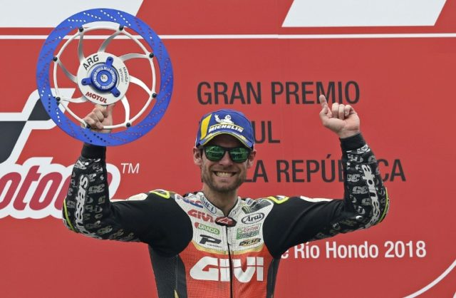 Cal Crutchlow celebrates his victory at Termas de Rio Hondo