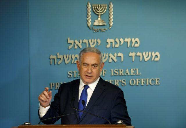 Israeli Prime Minister Benjamin Netanyahu speaks to the press in Jerusalem on April 2, 2018