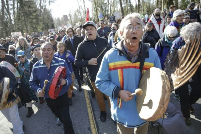Indigenous communities organize a march along the Kinder Morgan pipeline and tanker route on the coast of British-Columbia