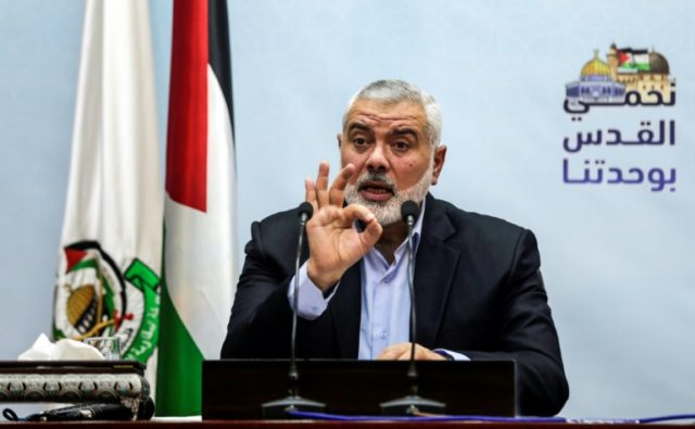 Ismail Haniya, pictured in January 2018, visited a tent camp for protesters following a wave of major protests along the Gaza-Israel border since March 30