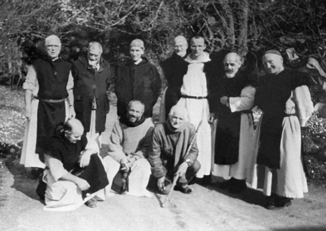A photo showing six of seven French Trappist monks who were kidnapped and killed in 1996 by an Islamic fundamentalist group.