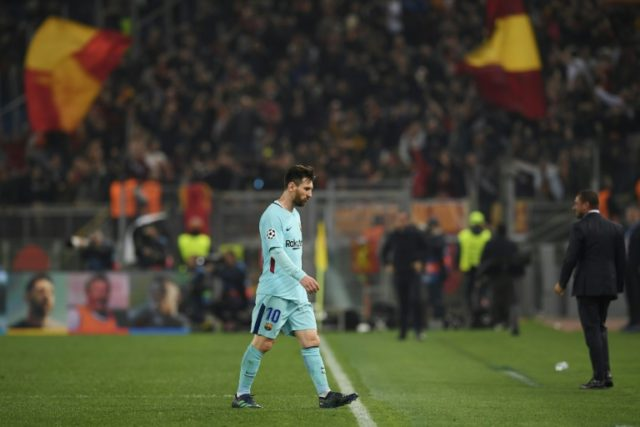 Lionel Messi cut a forlorn figure as he left the Stadio Olimpico pitch after Roma stunned Barcelona