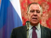 Russian Foreign Minister Sergei Lavrov speaks during a press conference in Moscow on April 10, 2018