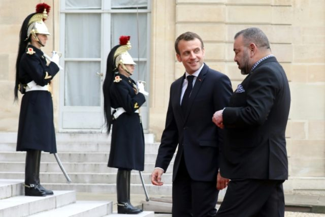 """President Macron welcomes King Mohammed VI to the Elysee Palace where a Moroccan statement noted they had a """"widespread convergence of views"""" on the Middle East"""