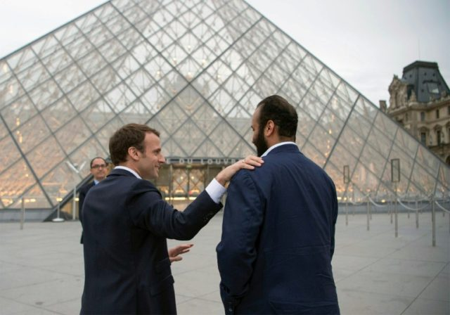 Prince Mohammed bin Salman, 32, previously dined with Macron at Paris's Louvre museum on Sunday night after flying in on his first trip to France as heir to the Saudi throne