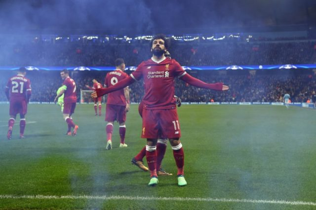 Salah celebrates Liverpool's first away goal and his 39th of a prolific season.