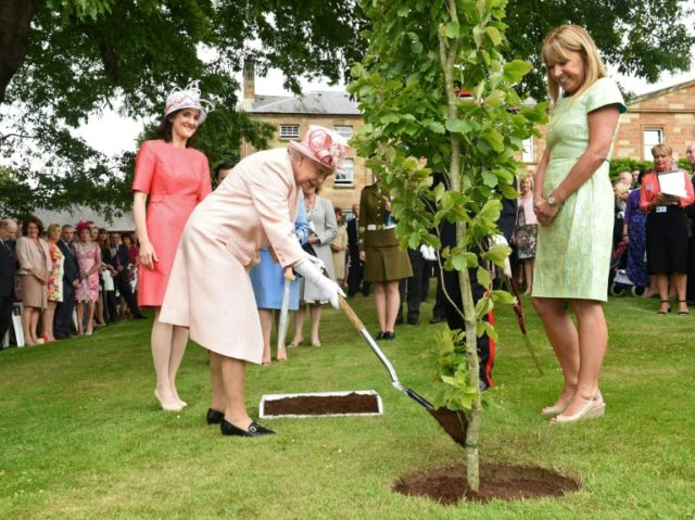Britain's Queen Elizabeth II plants a tree at a Garden party in Northern Ireland -- a new film reveals her passion for trees
