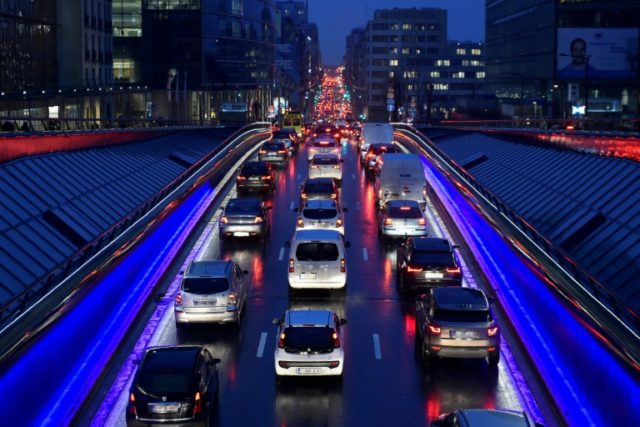 A traffic jam in Brussels