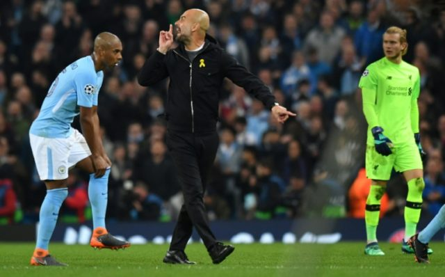 Manchester City manager Pep Guardiola gestures during a half-time tirade that could earn the Spaniard a sanction from UEFA