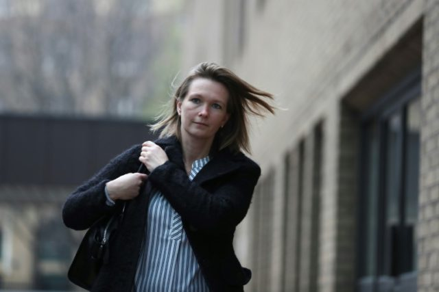 Former employee of Barclays bank, Sisse Bohart, leaves Southwark Crown Court in London on April 11, 2018, where she faces trial with four others, over accusations of manipulating the Euribor, the rate at which European banks lend to each other