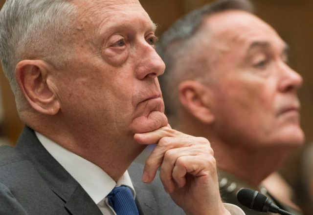 US Secretary of Defense Jim Mattis (L) and Chairman of the Joint Chiefs of Staff General Joseph Dunford appear on Capitol Hill on Thursday