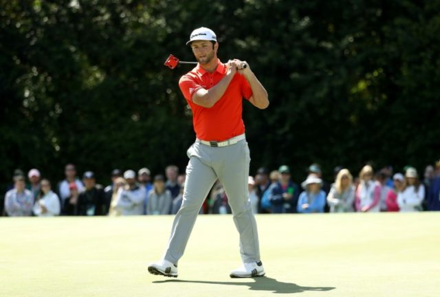 Jon Rahm of Spain, pictured on April 8, 2018, fired four birdies and an eagle at the 18th hole to start the Spanish Open