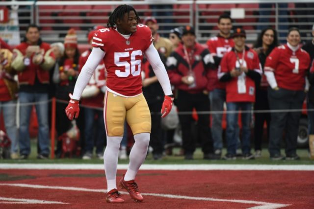 Reuben Foster of the San Francisco 49ers, pictured in 2017, could face as much as 11 years in prison if convicted