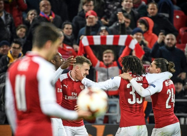Arsenal fought off a feisty performance by CSKA Moscow in the quarter-final second leg in the Russian capital