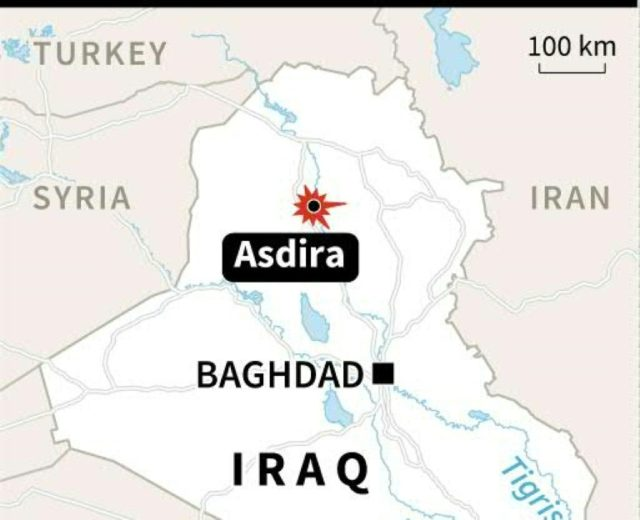 Map locating Asdira, near the town of Sharqat, where many people died in a bomb attack