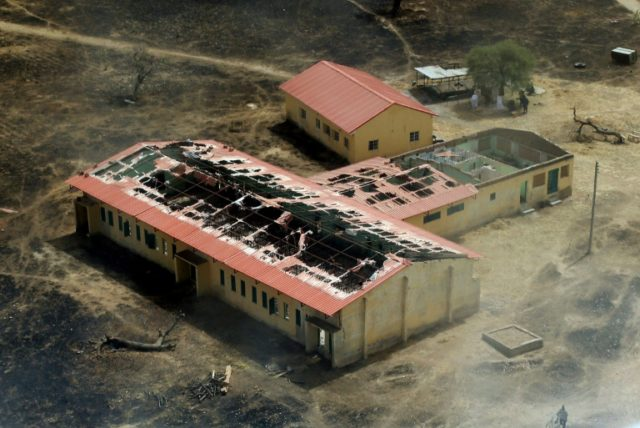 The burnt-out classrooms of the Government Secondary School in Chibok, Nigeria, are pictured in 2015, a year after Boko Haram Islamist fighters seized 276 schoolgirls on April 14, 2014