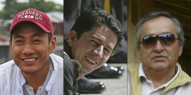 (L to R) Ecuadoran reporter Javier Ortega, photographer Paul Rivas and driver Efrain Segarra have been killed after being abducted by renegade Colombian rebels