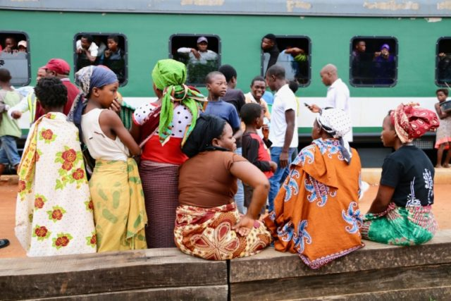 Food vendors appear at every stop along the busy Nampula-Cuamba train route in northern Mozambique