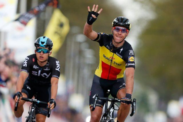 Le Belge Philippe Gilbert (c) remporte pour la 4e fois de sa carrière l'Amstel Gold Race, le 16 avril 2017 à Berg en Terblijt