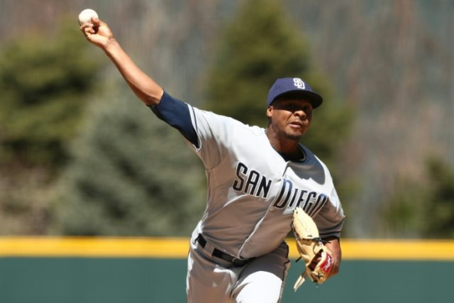 Starting pitcher Luis Perdomo of the San Diego Padres throws in the first inning against the Colorado Rockies at Coors Field on April 11, 2018